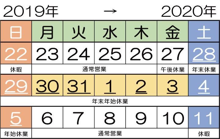 年末年始営業日(2019→2020)